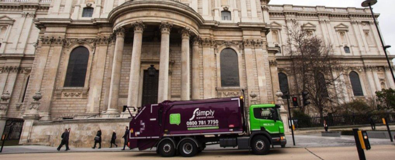Simply Waste Solutions trade waste vehicle outside of St Paul's Cathedral in London