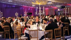 Simply Waste Solutions summer charity ball, shot of tables and people talking and eating