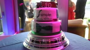 Simply Waste Solutions summer charity ball, celebrating 10 years three tiered cake