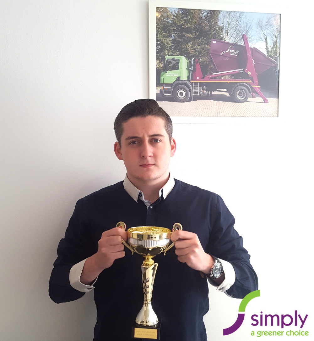 James holding our Football Trophy