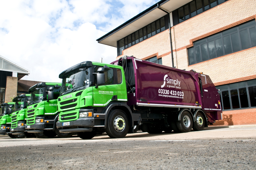 Simply Waste HGVs all lined up