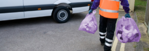 Simply Waste Solutions collecting purple waste bags