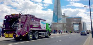 Simply Waste Solutions trade waste truck with Shooting Star sticker in London