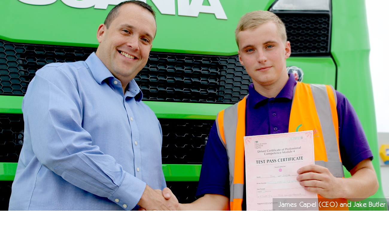 James Capel and Jake Butler, first academy apprentice at Simply Waste Solutions