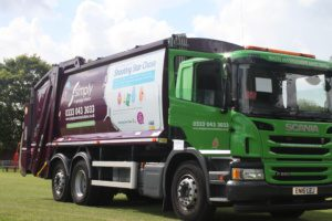 Simply Waste Solutions charity family fun day shooting star signage on trade waste truck