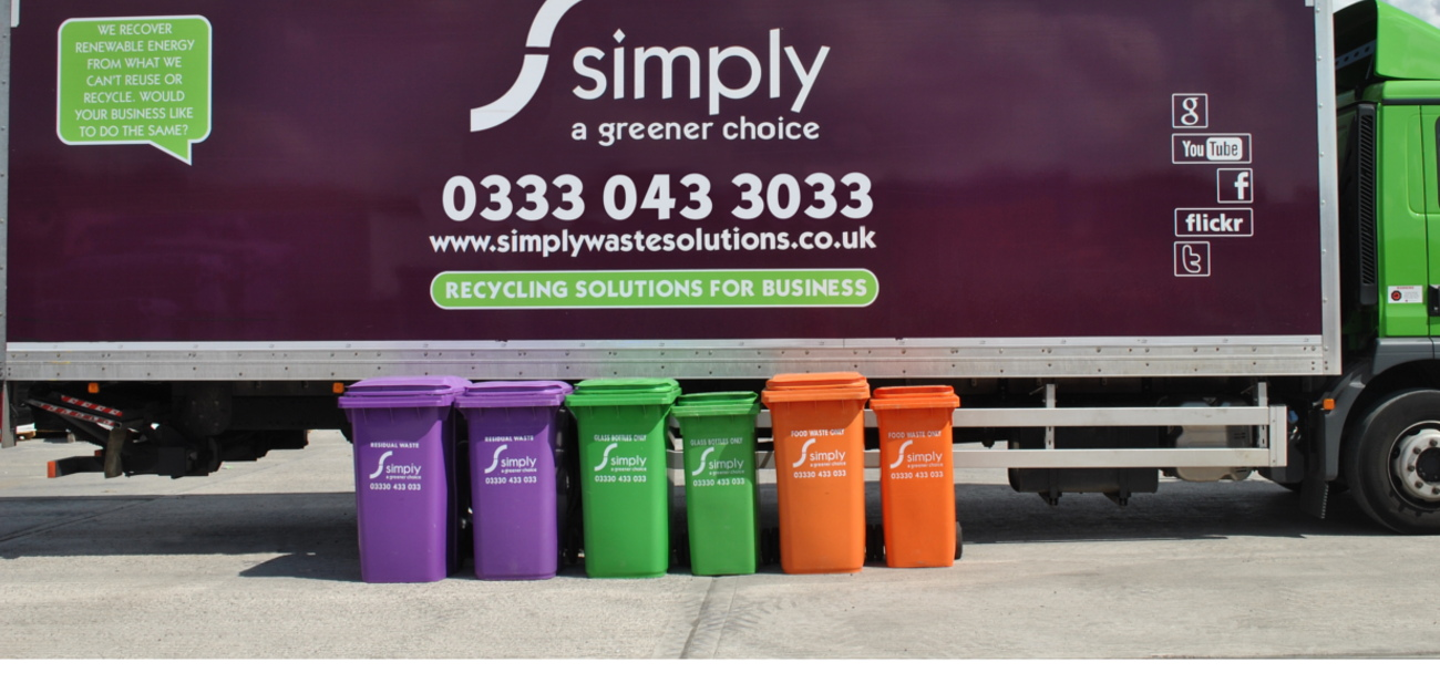 Simply Waste Solutions colour coded 240 litre wheelie bins for residual, glass and food waste, in front of truck
