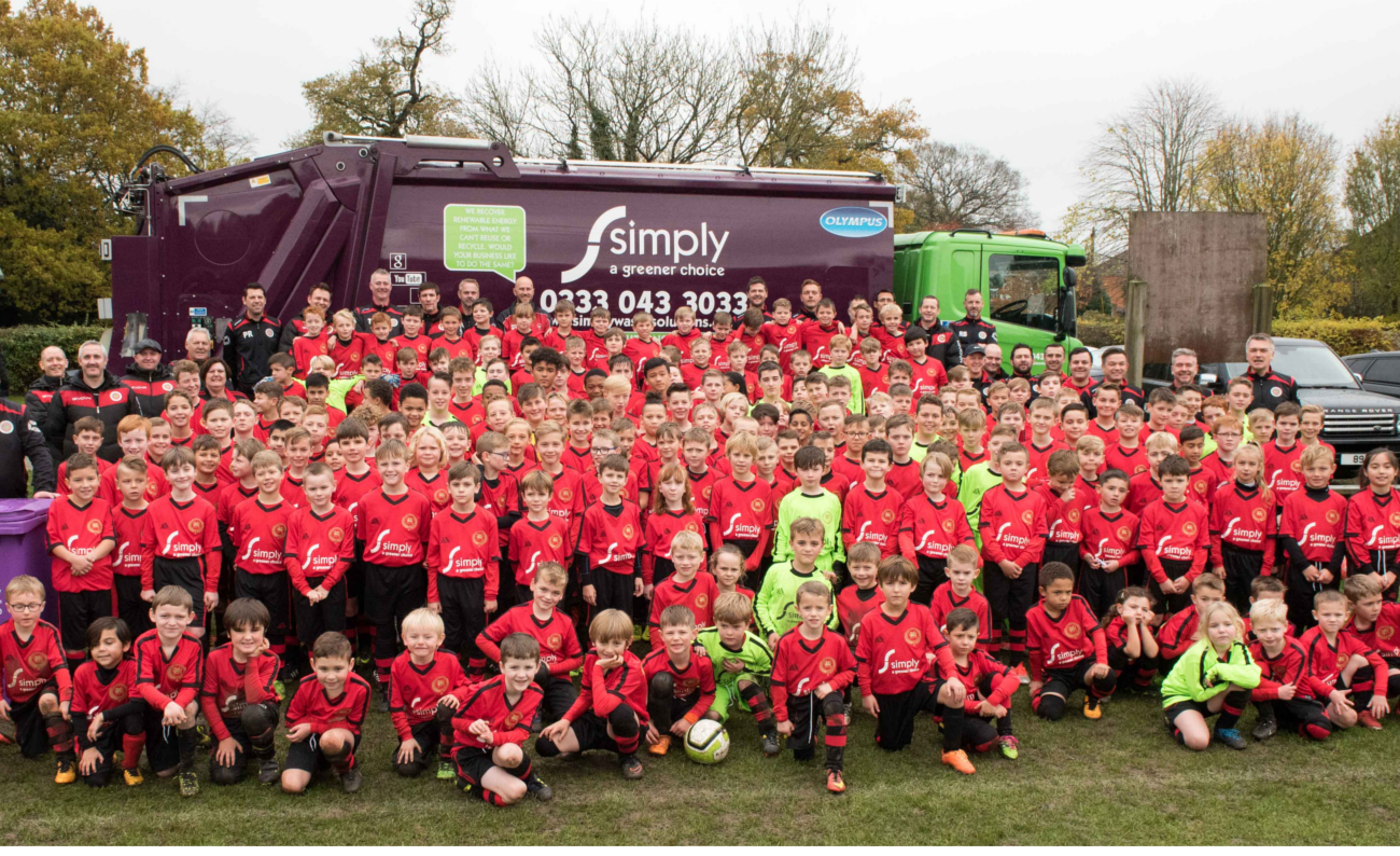 Flackwell Heath Minors Football Club (FHMFC) wearing Simply Waste Solutions sponsored kits