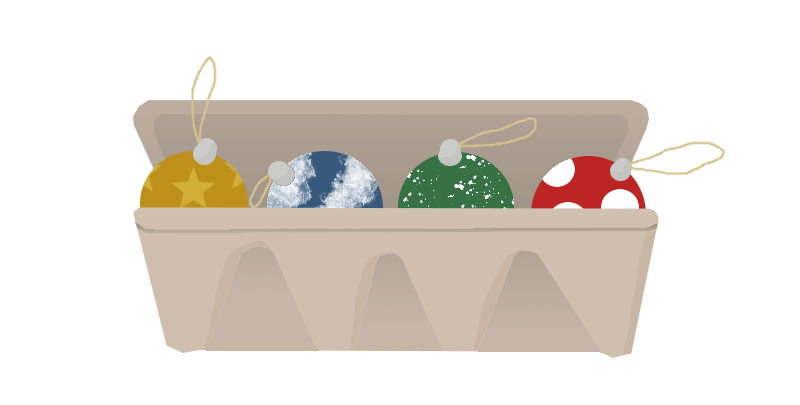cartoon of egg box holding Christmas baubles