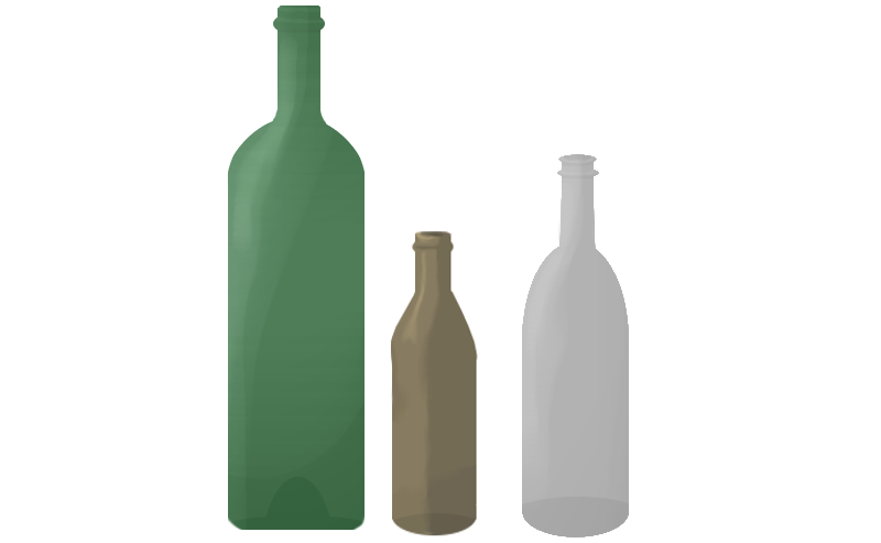 cartoon of bottle glass waste