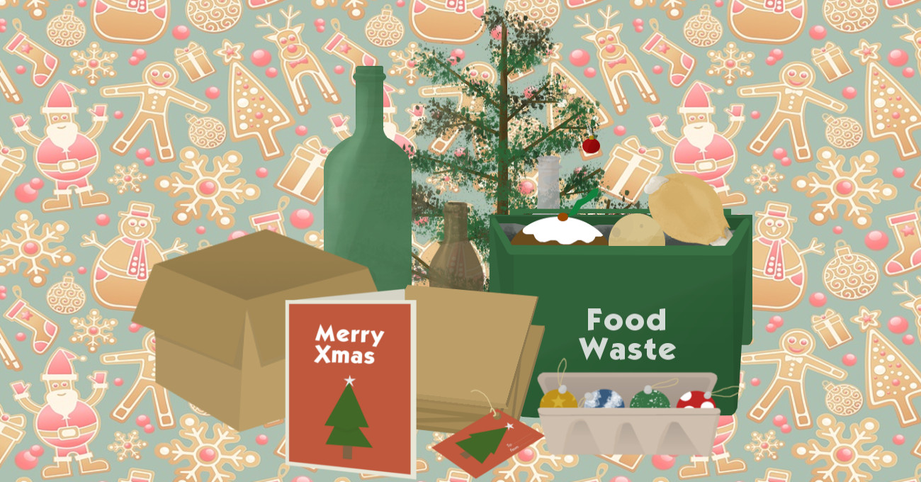 Christmas Recycling Facts article with lots of waste