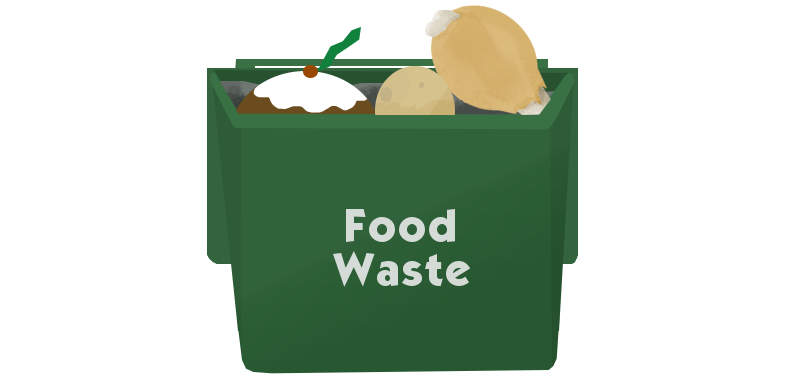 cartoon of food waste in caddy