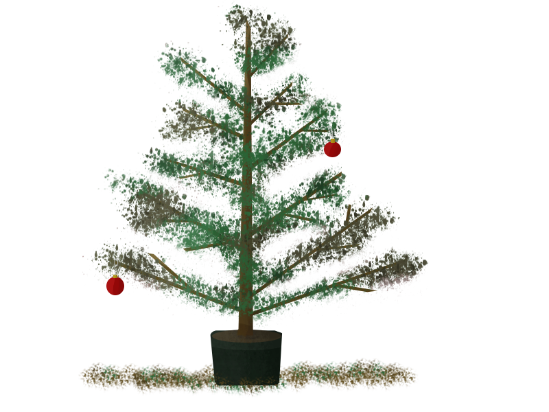 cartoon of Christmas tree