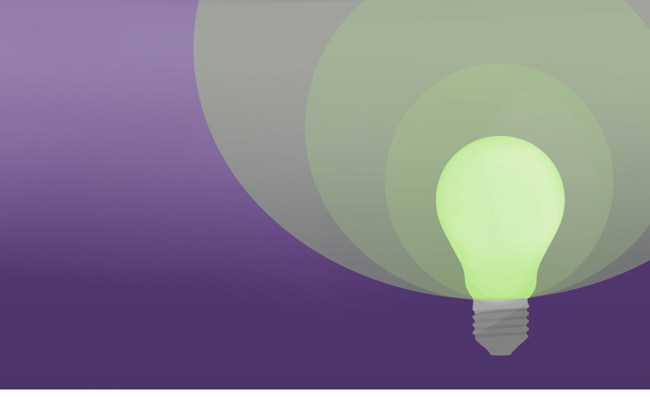 graphic of a light bulb on purple background