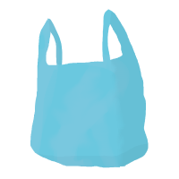 cartoon of single-use plastic carrier bag