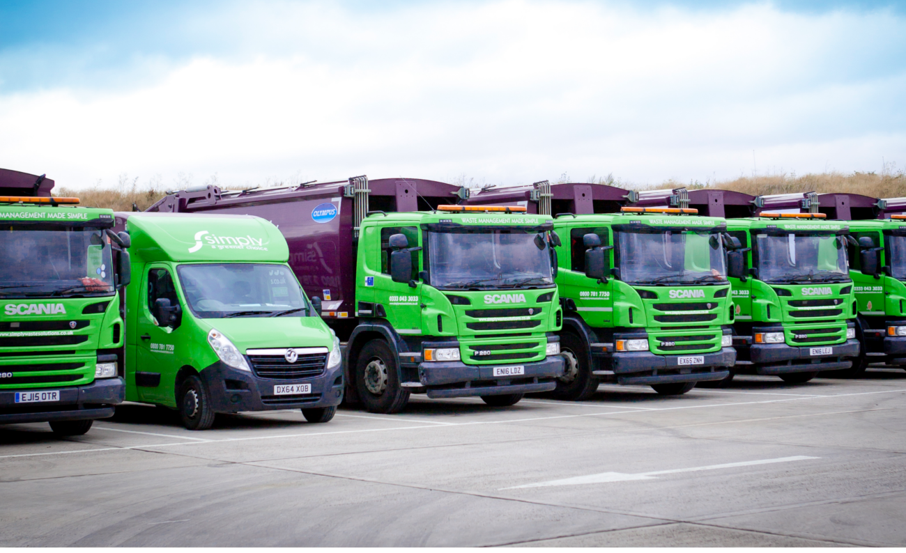 Simply Waste Solutions trucks and van lined up
