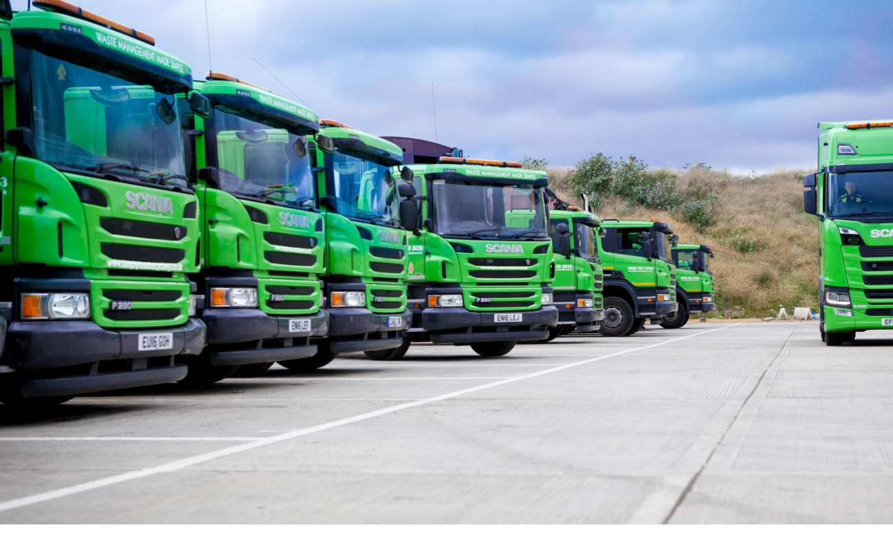 Simply Waste Solutions trucks lined up at depot