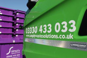 Simply Waste Solutions trade waste truck with 360 degree cameras
