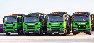 Line of Simply Waste Solutions 2018 plate trade waste trucks