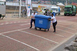 National Refuse Championships. Pushing wheelie bin to finish line