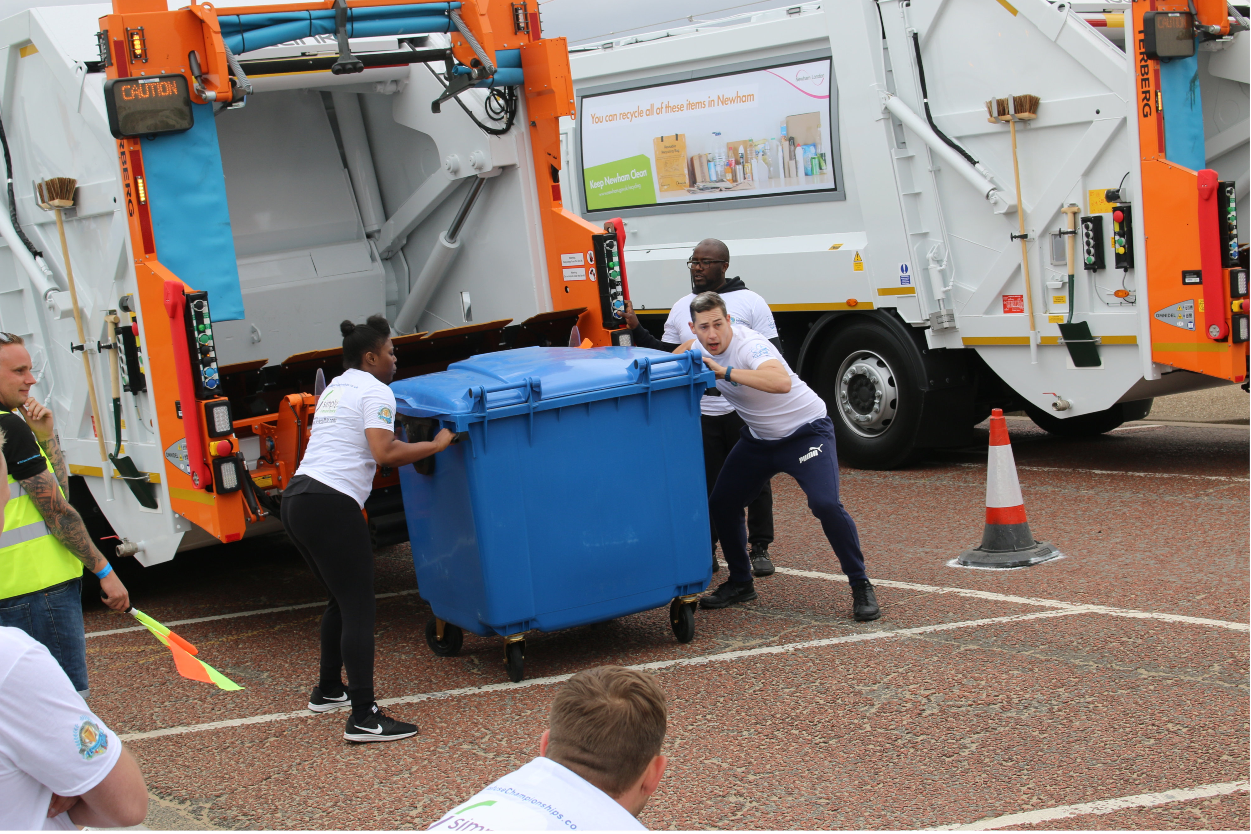 Simply Waste Solutions competing in National Refuse Championships. Working hard to push the bin