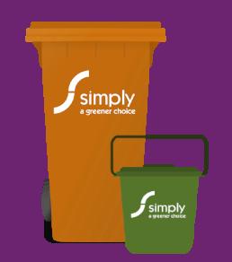 cartoon graphic of food waste wheelie bin and caddy