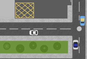 cartoon graphic of cars on road