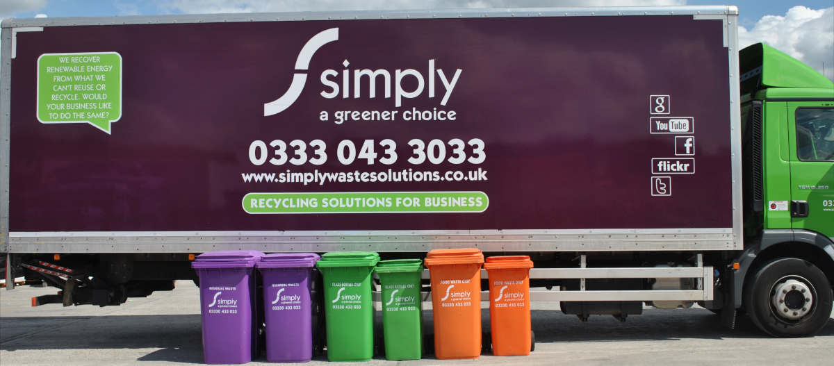 240L bins lined up in front of Simply Waste Solutions truck