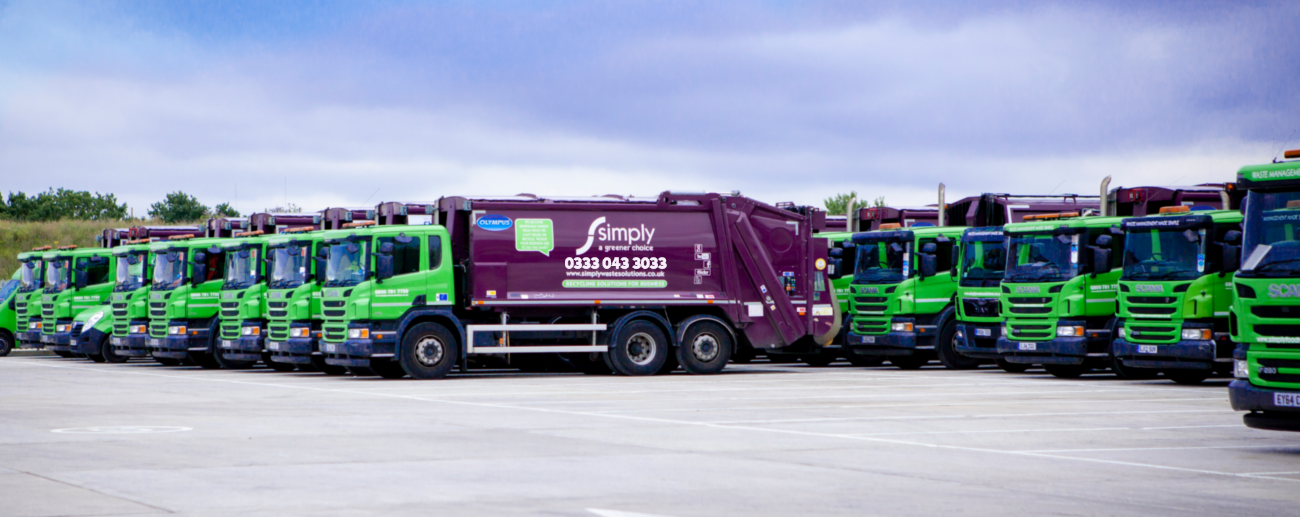 Simply Waste Solutions trucks lined up at Stanwell depot