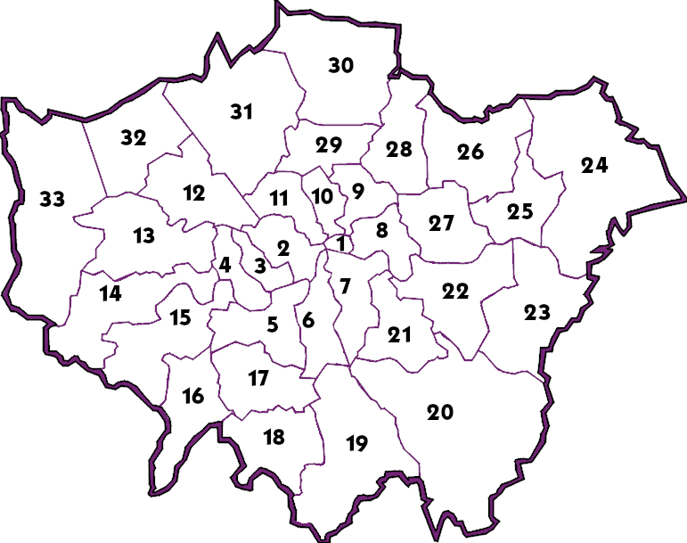 Map of London Boroughs, SWS Service Locations