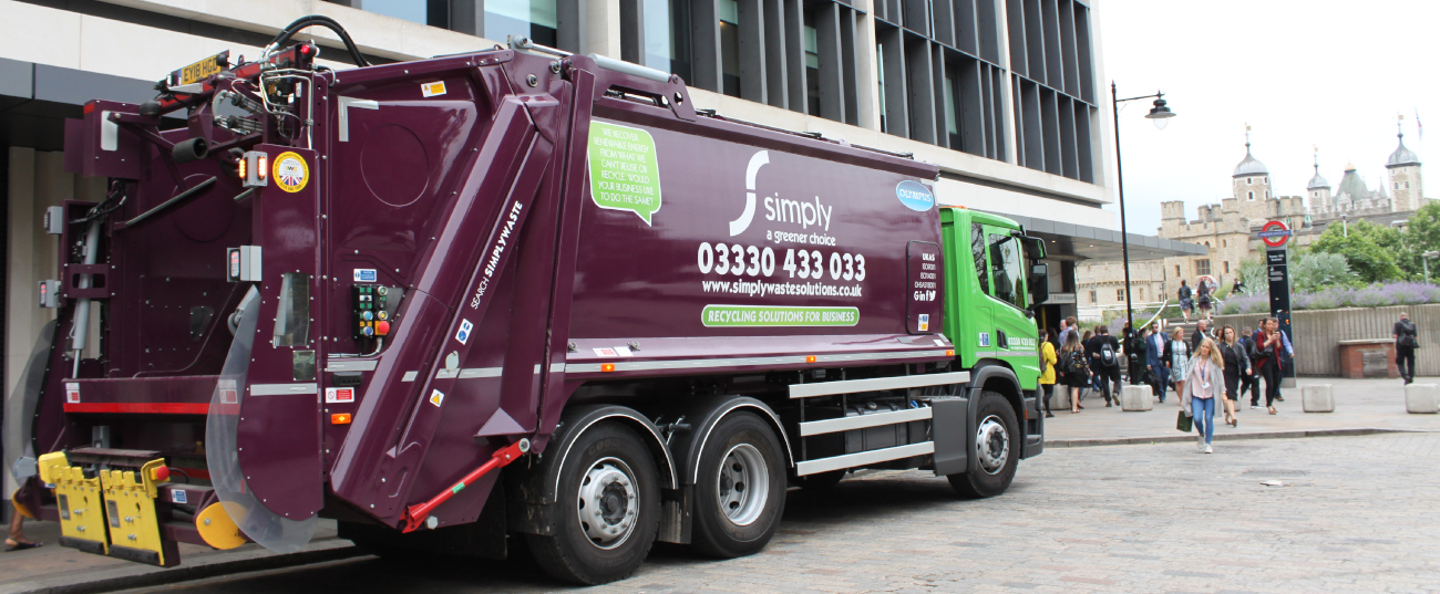 Simply Waste Solutions truck in London by Tower of London