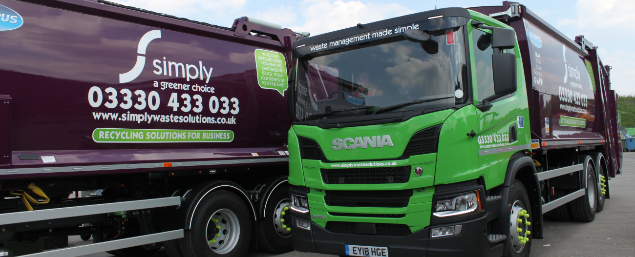Simply Waste Solutions trade waste trucks at Stanwell depot
