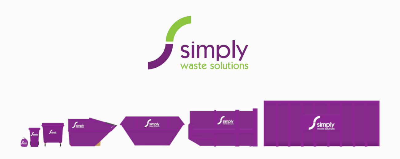 Simply Waste Solutions range of waste containers graphic. Bags, wheeled bins, rel, skip, compactor and roro