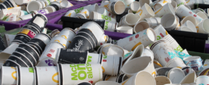 Paper and plastic cups collected by Simply Waste Solutions before being recycled through the Simply Cups UK scheme
