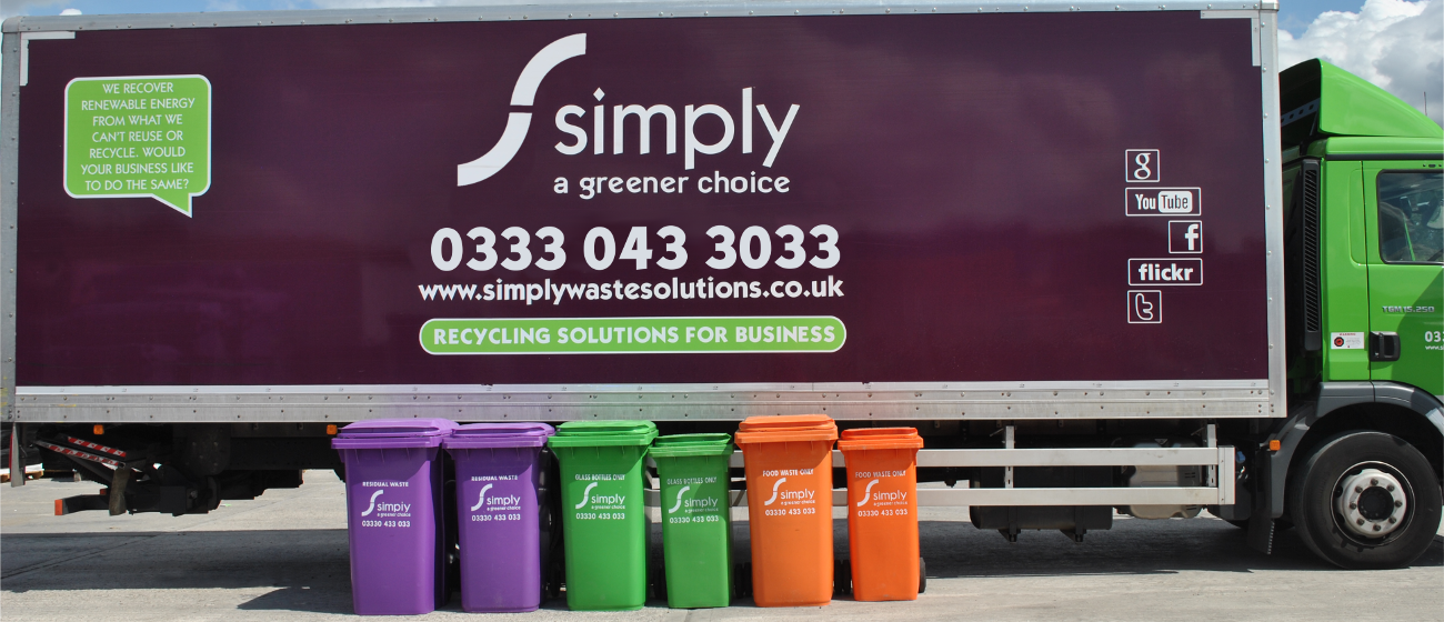Wheelie Bins in front of Simply Waste Solutions truck