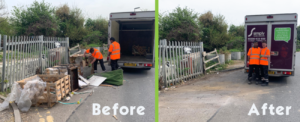 Simply Waste Solutions collecting fly tipped waste to help keep the local community clean and tidy
