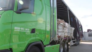 Simply Waste Solutions mixed collection Artic truck with bales of cardboard waste inside