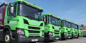 Simply Waste Solutions line of trade waste 68 plate trucks at the Stanwell depot