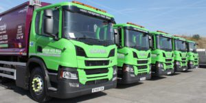 Simply Waste Solutions trade waste trucks lined up at Stanwell depot