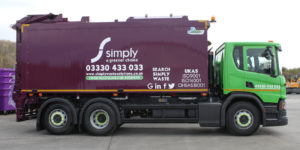 Simply Waste Solutions food and glass waste top loader truck