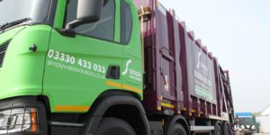Simply Waste Solutions 2019 plate rear end loader (REL) truck at Stanwell depot