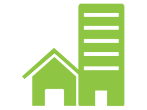 Graphic icon to represent clearance service to both homes and businesses
