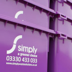 Newsletter image showing purple 1100 litre wheelie bins
