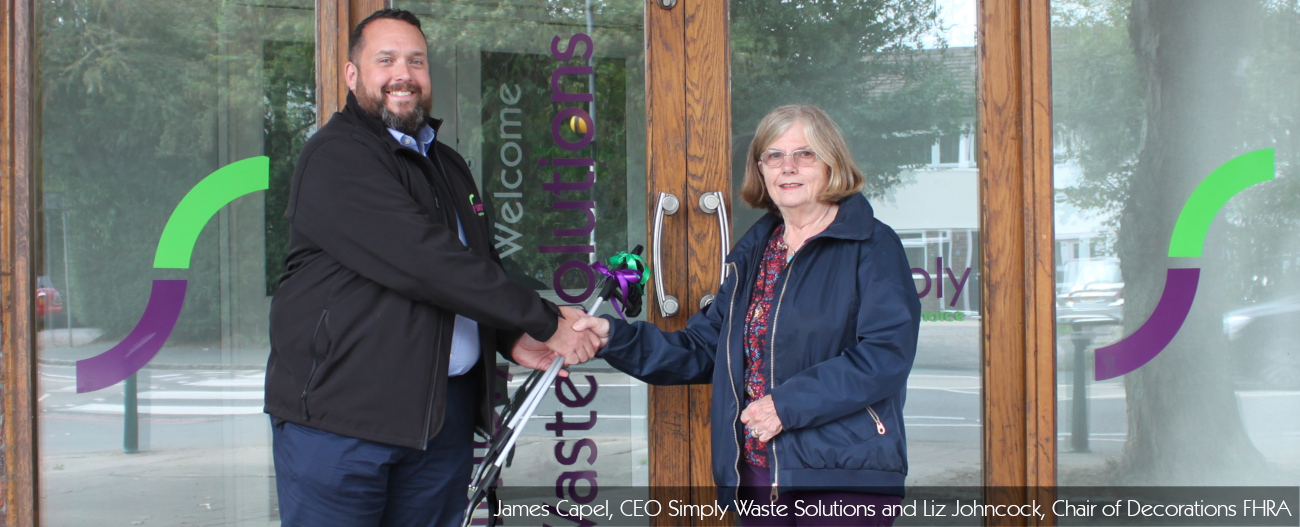 Flackwell Heath Litterpick. James Capel, CEO of Simply Waste Solutions handing over litterpick to Liz Johncock