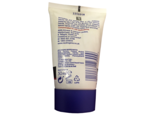 Back of a hand cream bottle to show recycling triangle symbol with number in the middle