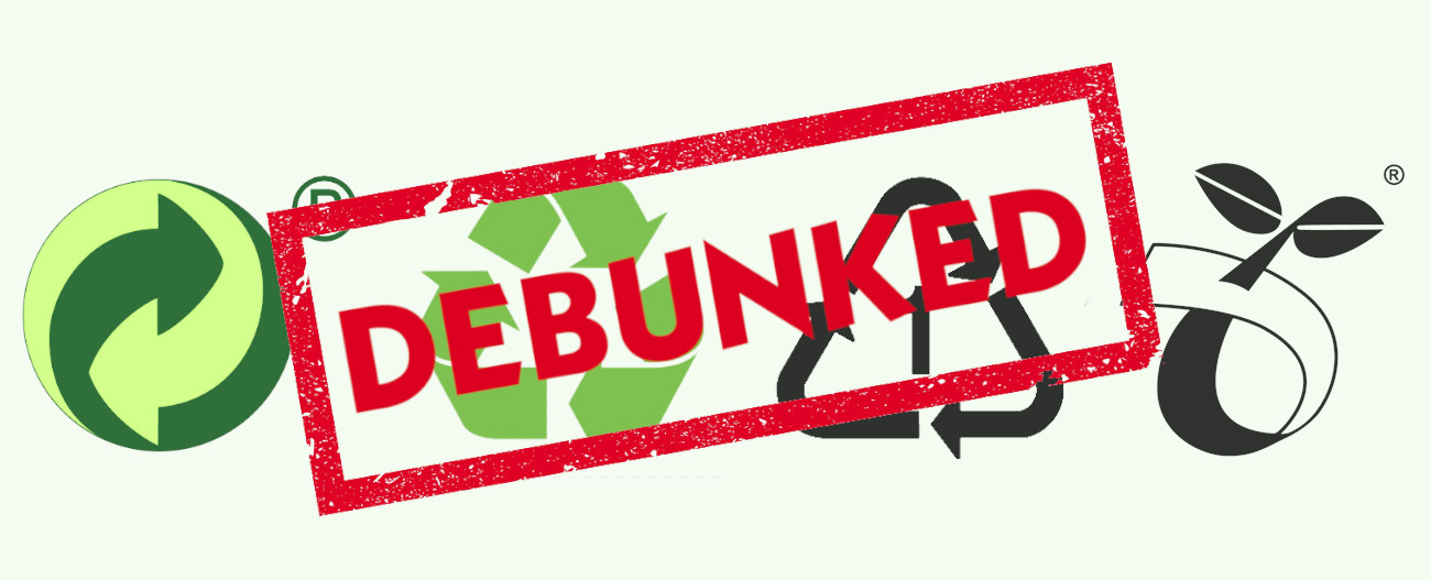 Debunking recycling myths large image with common recycling symbols on