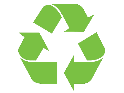 Mobius loop recycling symbol. Triangular symbol with green arrows