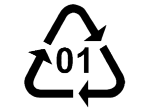 Triangle recycling symbol with grade of plastic number 1