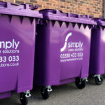 Simply Waste Solutions 1100 Litre purple wheelie bins used for general waste or dry mixed recycling