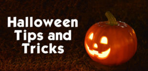 Halloween recycling tips and tricks text next to candle lit, carved pumpkin on field of grass. Small image for Newsletter