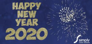 Happy New Year from Simply Waste Solutions. Image with fireworks on blue background